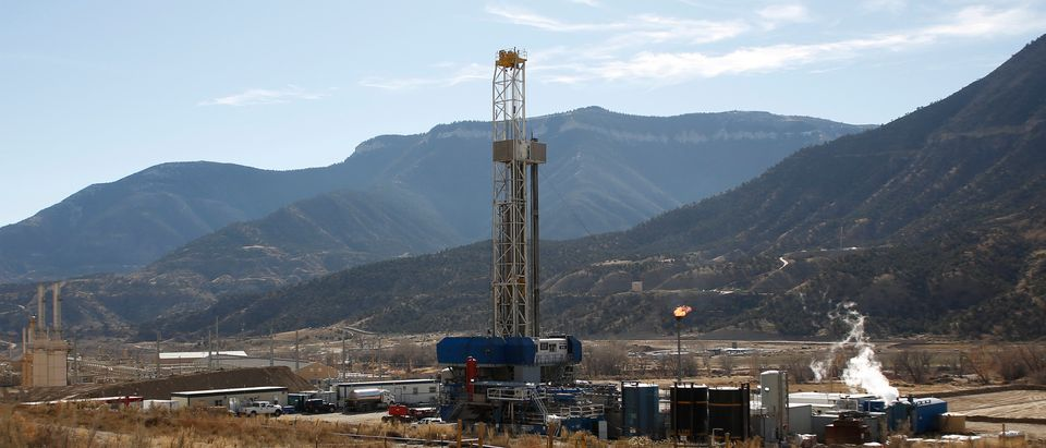 A WPX Energy natural gas drilling rig north of Parachute, Colorado