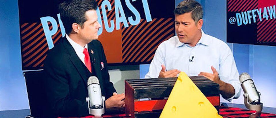 Rep. Sean Duffy & Rep. Matt Gaetz speak on Duffy's podcast. (Photo courtesy of Rep. Duffy's office)