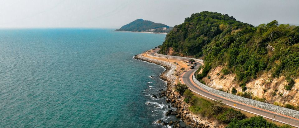Road next to coast