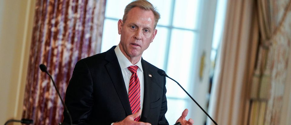 Acting U.S. Secretary of Defense Patrick Shanahan speak to the media at the State Department in Washington