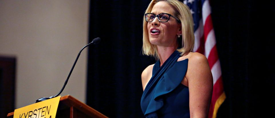 Democratic candidate Sinema speaks to supporters after officially winning the U.S. Senate race in Phoenix