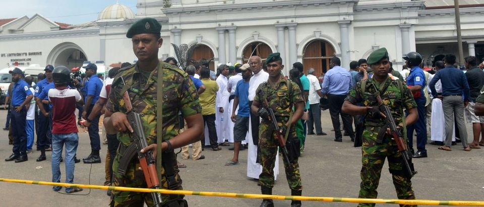 Sri Lankan security personnel keep watch outside the church premises following a blast at the St. Anthony's Shrine in Kochchikade in Colombo on April 21, 2019. (ISHARA S. KODIKARA/AFP/Getty Images)