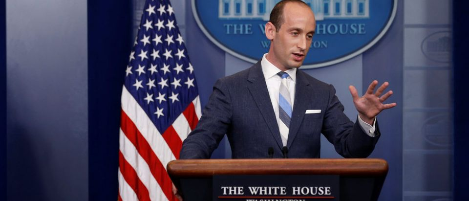 Miller joins Sanders to discuss U.S. immigration policy at the daily briefing at the White House in Washington