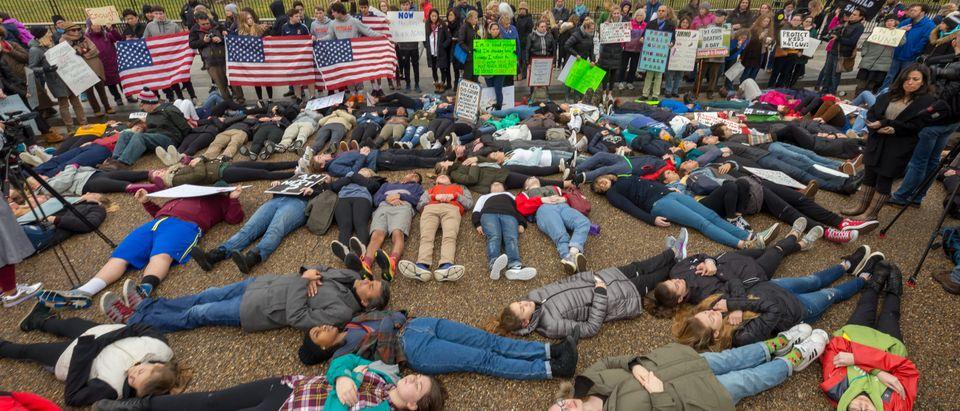 Students protesting guns