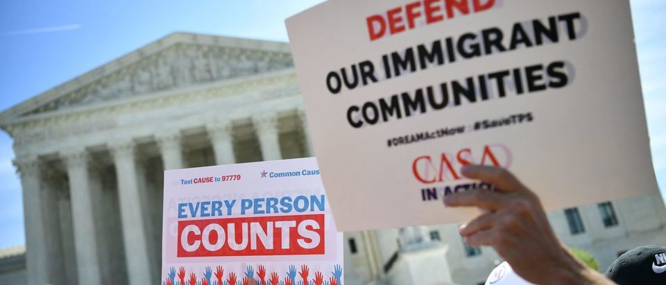 Demonstrators rally at the Supreme Court on April 23, 2019, to protest a proposal to add a citizenship question in the 2020 Census. (Mandel Ngan/AFP/Getty Images)
