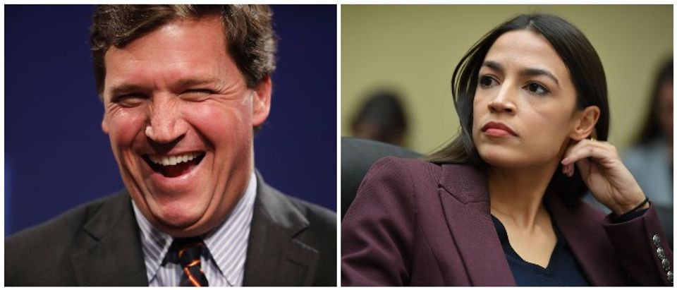 Tucker Carlson and Rep. Ocasio-Cortez (LEFT: Chip Somodevilla/Getty Images RIGHT: MANDEL NGAN/AFP/Getty Images)