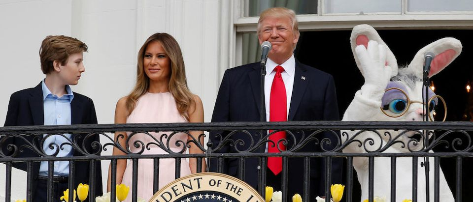 U.S. President Donald Trump, U.S. first lady Melania Trump, their son Barron and the Easter Bunny arrive for the 139th annual White House Easter Egg Roll on the South Lawn of the White House in Washington, U.S., April 17, 2017. REUTERS/Joshua Roberts