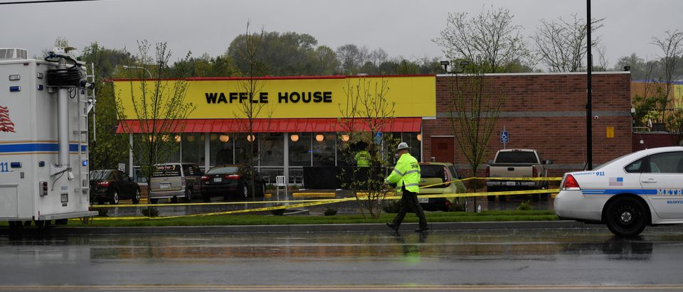 Metro Davidson County Police at the scene of a fatal shooting at a Waffle House restaurant near Nashville, Tennessee