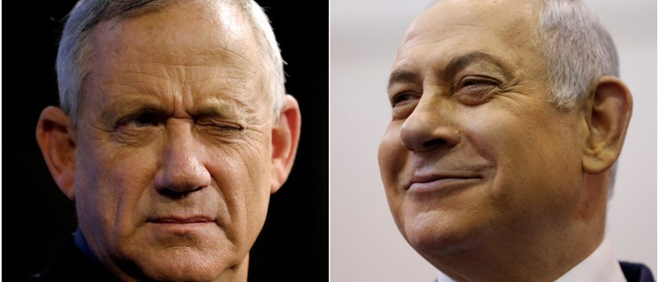 A combination picture shows Benny Gantz (left), leader of Blue and White party, at an election campaign event in Ashkelon, Israel, April 3, 2019, and Israeli Prime Minister Benjamin Netanyahu smiling at a polling station in Jerusalem, April 9, 2019. REUTERS/Amir Cohen/File photo, Ariel Schalit/Pool via REUTERS