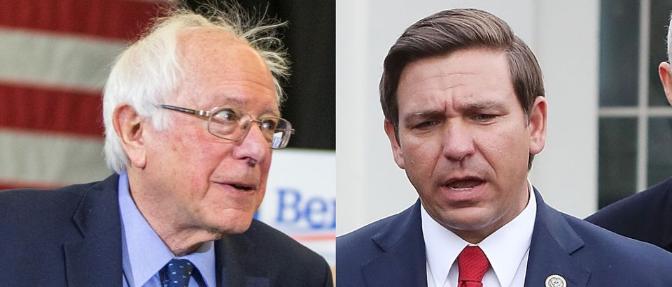 Independent Vermont Sen. Bernie Sanders (L) and Republican Florida Gov. Ron DeSantis are both interested in majorly increasing imports of prescription drugs from foreign countries. Scott Eisen/Getty Images and Mark Wilson/Getty Images