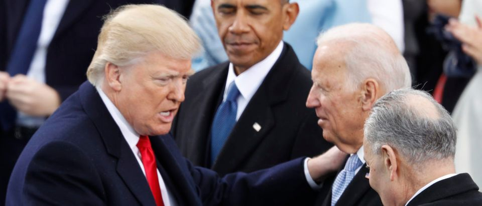 Donald Trump greets Sen. Chuck Schumer and former Vice President Joe Biden as former U.S. President Barack Obama looks on after inauguration ceremonies swearing in Donald Trump as the 45th president of the United States on the West front of the U.S. Capitol in Washington, U.S., January 20, 2017. REUTERS/Lucy Nicholson