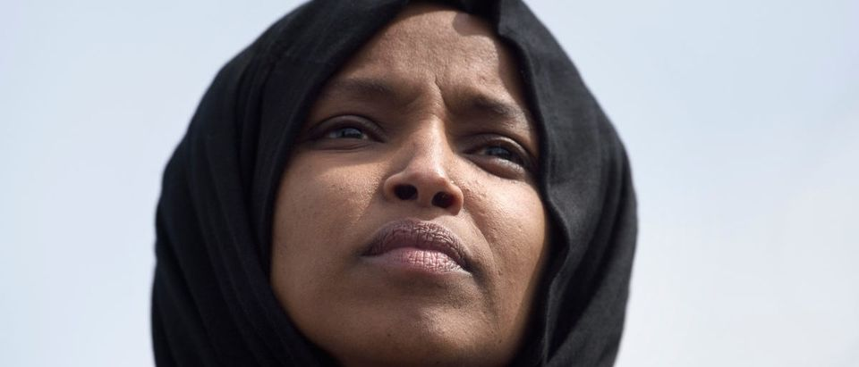 US Representative Ilhan Omar attends a youth climate rally on the west front of the US Capitol on March 15, 2019 in Washington, DC. (BRENDAN SMIALOWSKI/AFP/Getty Images)