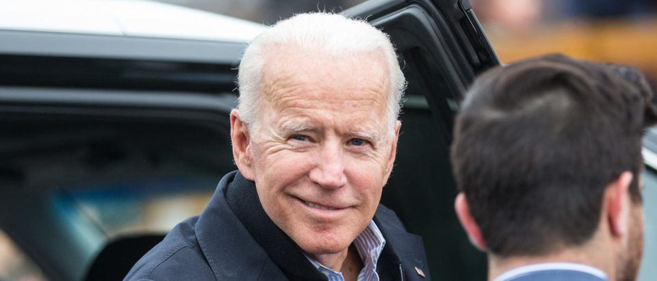 Former Vice President Joe Biden arrives in front of a Stop & Shop in support of striking union workers on April 18, 2019 in Dorchester, Massachusetts. (Photo by Scott Eisen/Getty Images)