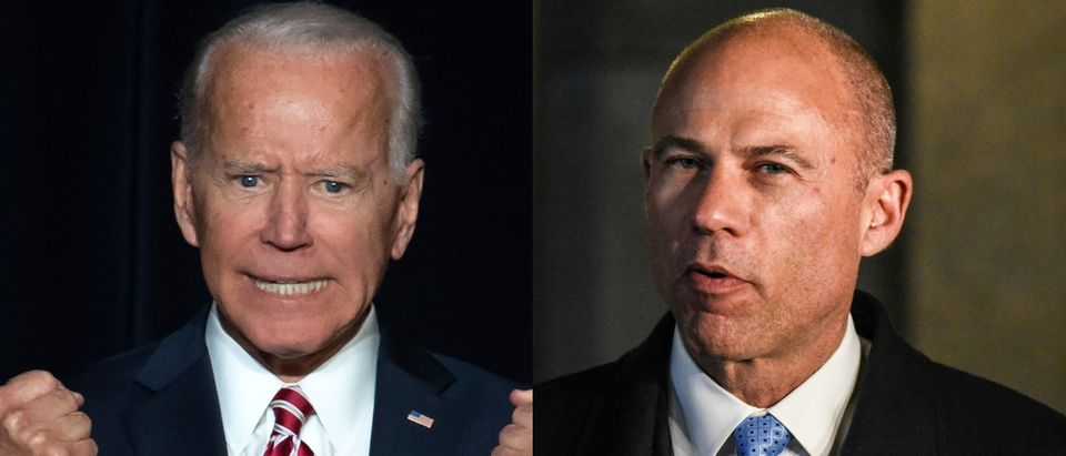 Embattled lawyer Michael Avenatti (R) said he was endorsing former Democratic vice president Joe Biden (L) for president on April 25, 2019. SAUL LOEB/AFP/Getty Images and Stephanie Keith/Getty Images