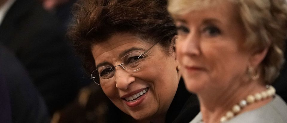 Treasurer of the United States Jovita Carranza (L), and Administrator of Small Business Administration Linda McMahon (R), attend an event at the East Room of the White House June 29, 2018 in Washington, DC. (Photo by Alex Wong/Getty Images)