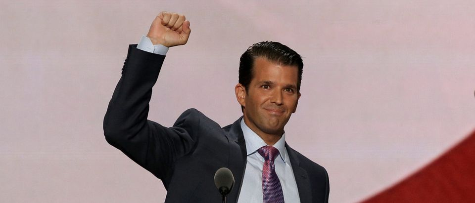 Donald Trump Jr. thrusts fist after speaking at the 2016 Republican National Convention in Cleveland