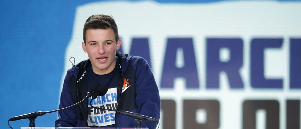 Marjory Stoneman Douglas High School Student Cameron Kasky addresses the March for Our Lives rally on March 24, 2018 in Washington, DC. Chip Somodevilla/Getty Images