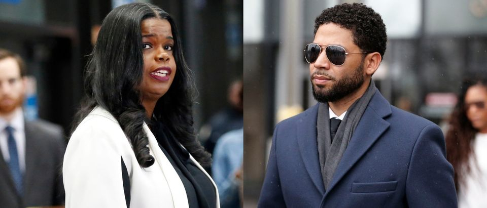 Cook County State's Attorney Kim Foxx had to answer for the decision to drop all charges against actor Jussie Smollett. Both photos Nuccio DiNuzzo/Getty Images