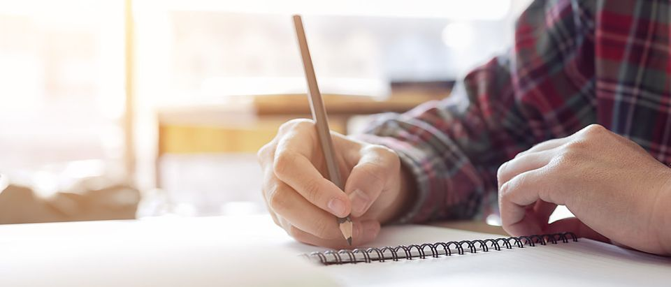 A man takes a test. Shutterstock image via wutzkohphoto