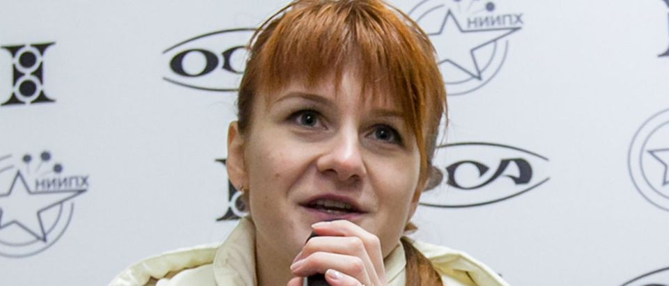 Mariia Butina, leader of a pro-gun organization, speaks on October 8, 2013 during a press conference in Moscow. (STR/AFP/Getty Images)