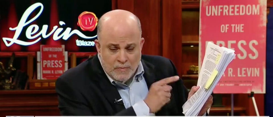 Mark Levin addresses the release of the redacted Mueller report. Screen Shot/Fox News