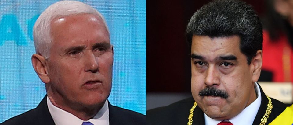 Vice President Mike Pence (L) announced additional sanctions against Venezuela to put pressure on socialist dictator Nicolas Maduro (R) April 5, 2019. Mark Wilson/Getty Images and YURI CORTEZ/AFP/Getty Images