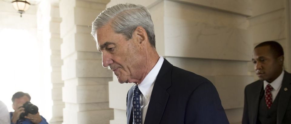 Former FBI Director Robert Mueller, special counsel on the Russian investigation, leaves following a meeting with members of the U.S. Senate Judiciary Committee at the U.S. Capitol in Washington, D.C., on June 21, 2017. (SAUL LOEB/AFP/Getty Images)