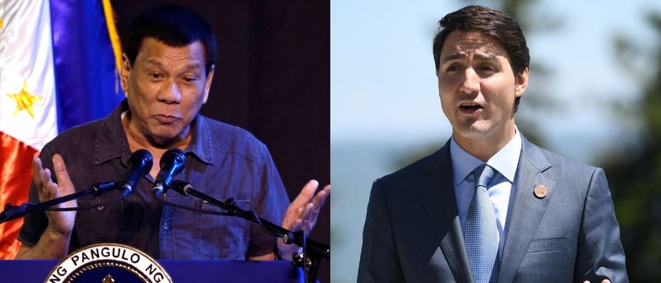 Philippines President Rodrigo Duterte (L) is not happy with Canada over waste disposal. Jeoffrey Maitem/Getty Images and Neil Hall - Pool/Getty Images