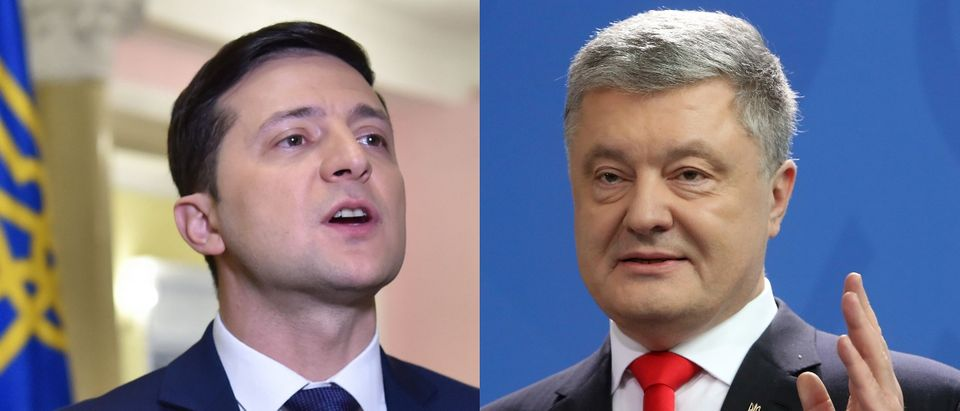 Volodymyr Zelensky (L) and incumbent Petro Poroshenko (R) faced off in the 2019 Ukrainian presidential election. SERGEI SUPINSKY/AFP/Getty Images and Adam Berry/Getty Images
