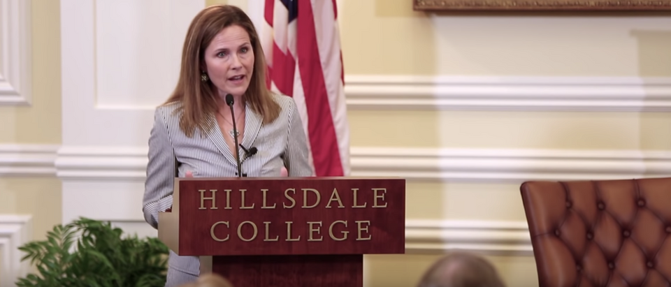 Judge Amy Coney Barrett speaks at a Hillsdale College event on May 23, 2019. (YouTube screenshot/Hillsdale College)
