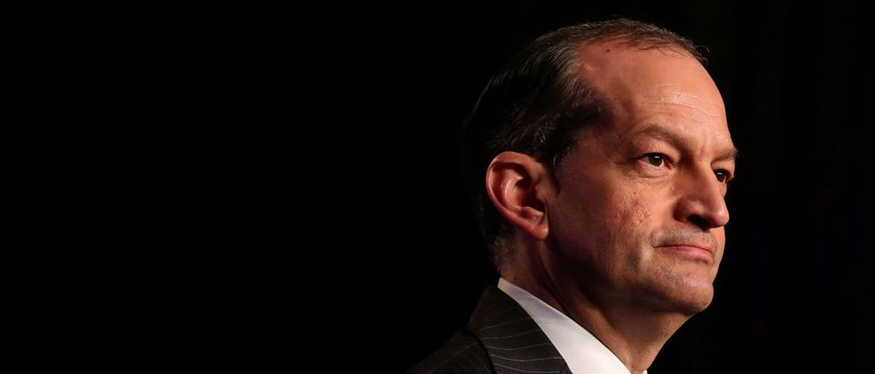U.S. Labor Secretary Alexander Acosta speaks at the North America's Building Trades Unions (NABTU) 2019 legislative conference in Washington, U.S., April 9, 2019. REUTERS/Jeenah Moon