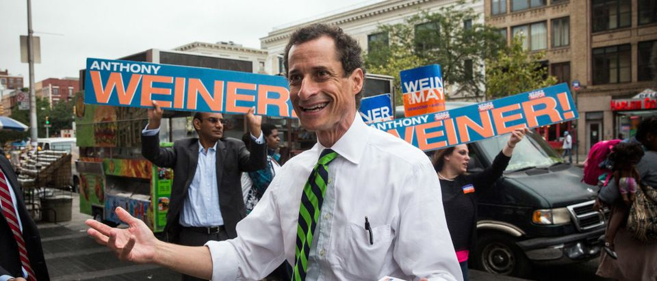 Anthony Weiner Campaigns In Harlem On NYC Mayoral Primary Day