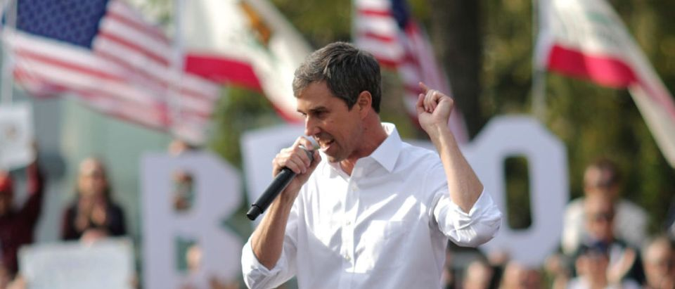 U.S. Democratic presidential candidate Beto O'Rourke speaks at a rally in Los Angeles