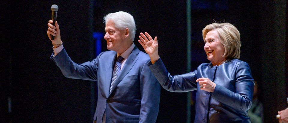 Former President Bill Clinton and former Secretary of State Hillary Clinton at Beacon Theatre in New York City on April 11, 2019. (Roy Rochlin/Getty Images)