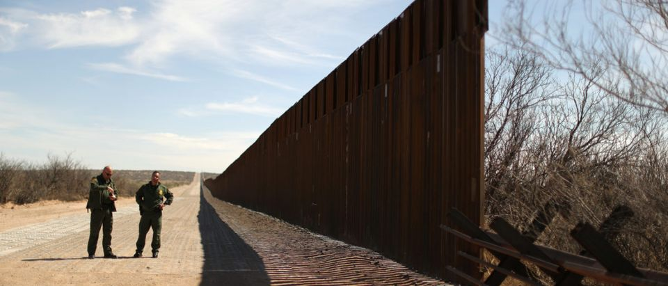 New bollard-style U.S.-Mexico border fencing is seen next to vehicle barriers in Santa Teresa