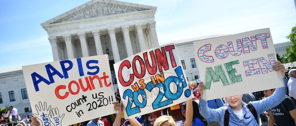 Demonstrators rally at the Supreme Court to protest a proposal to add a citizenship question in the 2020 Census on April 23, 2019. (Mandel Ngan/AFP/Getty Images)