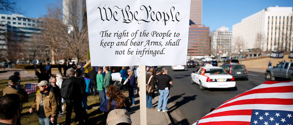 DENVER, CO - JANUARY 9: Second Amendment activist Joseph Gabriele of Littleton, Colorado gathers with other activists in support of gun ownership on January 9, 2013 at the Colorado State Capitol in Denver, Colorado. Lawmakers are calling for tougher gun legislation after recent mass shootings at an Aurora, Colorado movie theater and elementary school in Newtown, Connecticut. (Photo by Marc Piscotty/Getty Images)