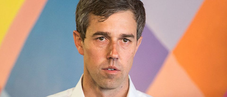 Democratic Presidential Beto O'Rourke speaks during a campaign stop at a cafe on April 19, 2019 in Somersworth, New Hampshire