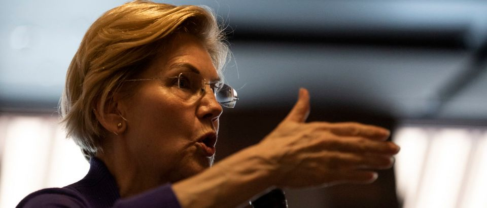 MASON CITY, IA - MAY 04: Democratic presidential candiate Sen. Elizabeth Warren (D-MA) speaks to a crowd during a campaign stop at Fat Hill Brewing on May 4, 2019 in Mason City, Iowa. Warren has made six trips to Iowa so far during her candidacy. (Photo by Stephen Maturen/Getty Images)