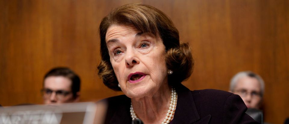 """Sen. Dianne Feinstein (D-CA) asks a question as U.S. Attorney General William Barr testifies before a Senate Judiciary Committee hearing entitled """"The Justice Department's Investigation of Russian Interference with the 2016 Presidential Election."""" on Capi"""