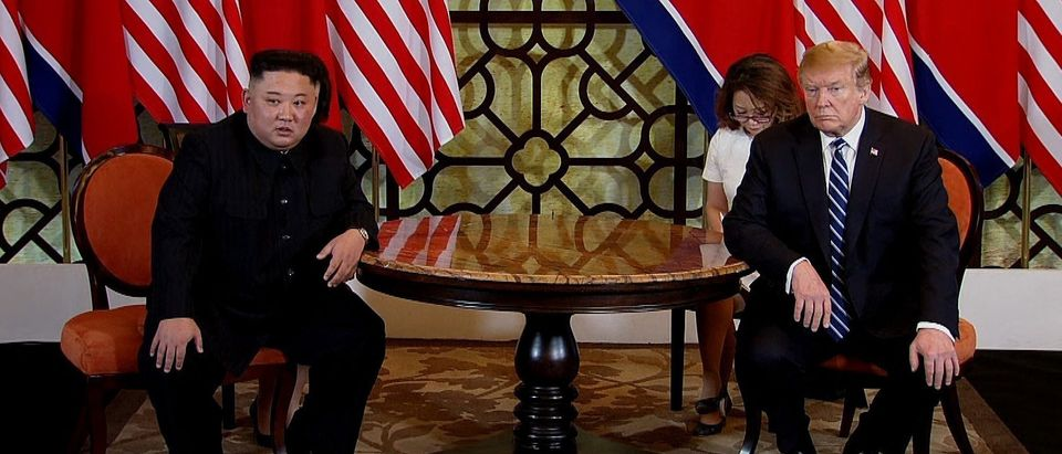 In this handout photo provided by Vietnam News Agency, U.S. President Donald Trump (R) and North Korean leader Kim Jong-un (L) during their second summit meeting at the Sofitel Legend Metropole hotel on February 28, 2019 in Hanoi, Vietnam. (Vietnam News Agency/Handout/Getty Images)