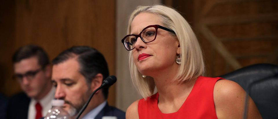 Senate Aviation and Space Subcommittee ranking member Sen. Kyrsten Sinema on May 14, 2019 in Washington, DC. (Photo by Chip Somodevilla/Getty Images)