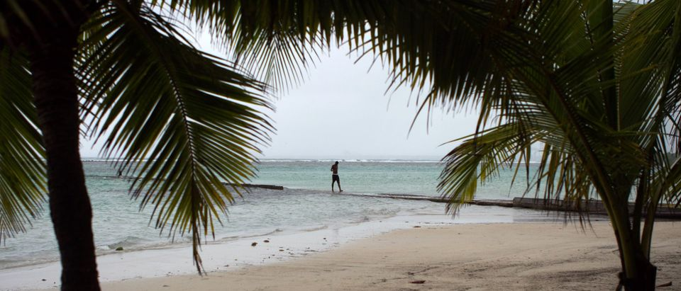 "A man is seen on the beach in Boca Chica in the Dominican Republic, which braces for a direct blast from tropical storm Erika, on August 28, 2015. The latest trajectory models indicate that the Dominican Republic will see a direct hit from Erika,"" Gloria Ceballos, the director of the National Meteorological Office, said via Twitter. Tropical Storm Erika killed at least 12 people as it swept over the small island of Dominica, its prime minister said Friday, noting his country had been ""badly beaten"", though local media put the death toll at 35 as rescuers made their way to the village of Petite Savanne deemed the hardest hit by the powerful weather system. AFP PHOTO / ERIKA SANTELICES (Photo credit should read ERIKA SANTELICES/AFP/Getty Images)"