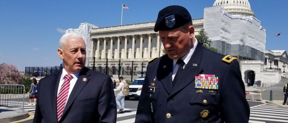 GOP Rep. Greg Pence of Indiana walks with Major General Courtney P. Carr of the Indiana National Guard on Capitol Hill on April 3, 2019. Photo courtesy Greg Pence's office