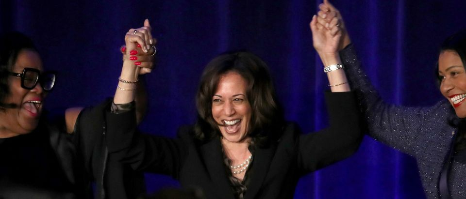 Democratic presidential hopeful U.S. Sen. Kamala Harris (C) (D-CA) raises her arms with San Francisco Mayor London Breed (R) and San Francisco Sun Reporter publisher Amelia Ashley-Ward (L) during the San Francisco Black Newspaper's Anniversary Celebration on May 09, 2019 in San Francisco, California. (Photo by Justin Sullivan/Getty Images)