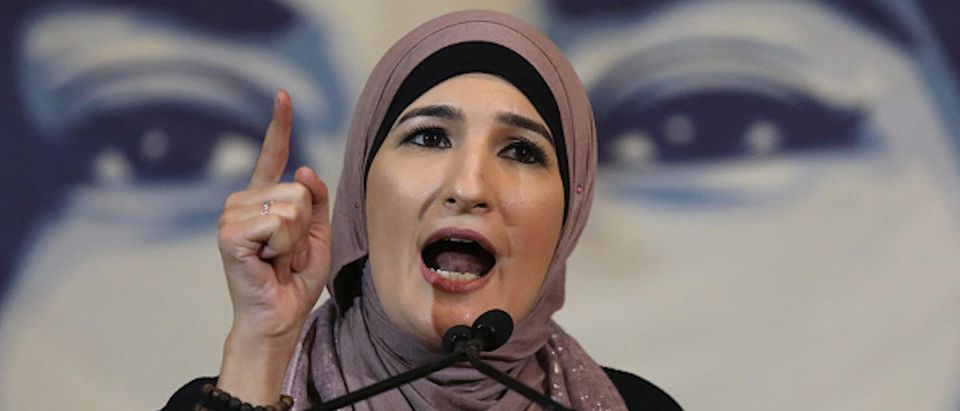 Immigration activist Linda Sarsour speaks during a National Day of Action for a Dream Act Now protest on Feb. 7, 2018 in Washington D.C. (Photo by John Moore/Getty Images,)