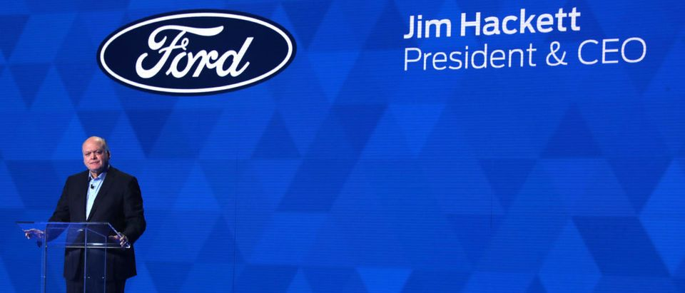 Jim Hackett, president and CEO of Ford Motor Company, speaks at the North American International Auto Show in Detroit on Jan. 14, 2019. REUTERS/Jonathan Ernst