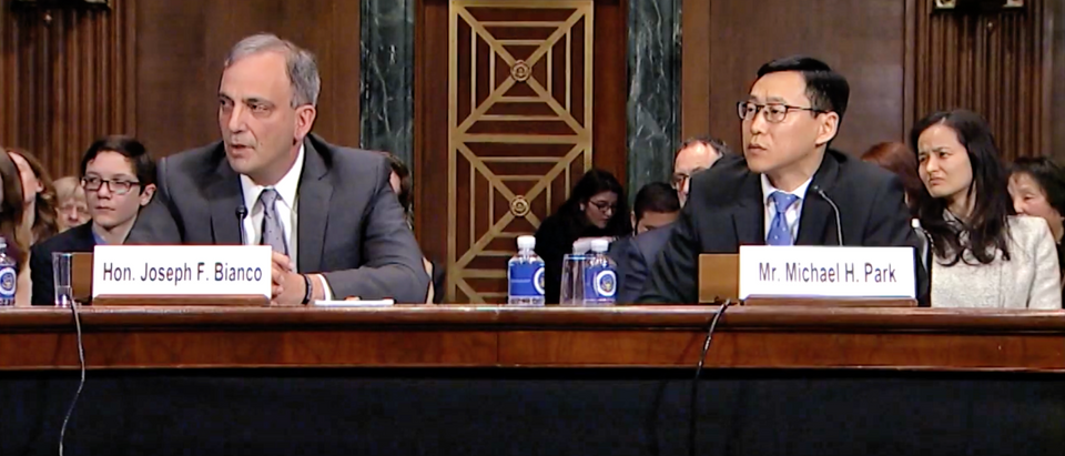 Judge Joseph Bianco (L) and Michael Park (R) appear before the Senate Judiciary Committee on Feb. 13, 2019. (YouTube screenshot/Mazie Hirono)
