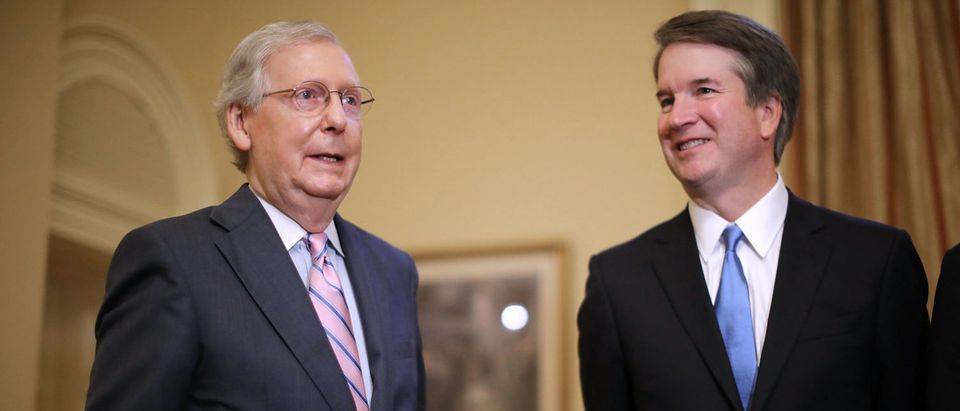 Senate Majority Leader Mitch McConnell (R-KY) makes brief remarks before meeting with Brett Kavanaugh on July 10, 2018. (Chip Somodevilla/Getty Images)