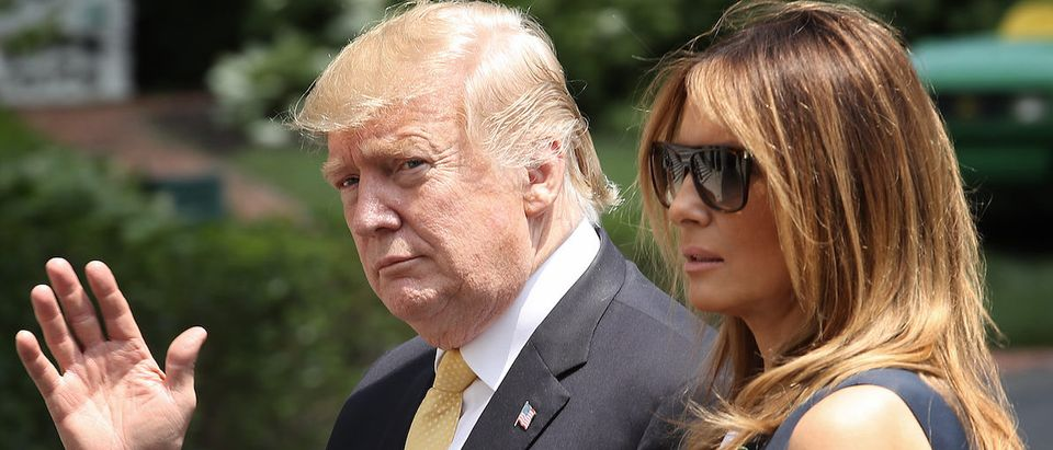U.S. President Donald Trump and first lady Melania Trump return to the White House on May 28, 2019 in Washington, DC. Trump spent the last 4 days on a state visit to Japan.(Photo by Win McNamee/Getty Images)